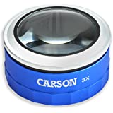 Carson MagniTouch 3x Touch Activated LED Lighted Stand Loupe Magnifier with Focusable Glass Lens For Reading, Low Vision, Hobby, Crafts, Stamps, Coins, Electronics and Inspection (MT-33)