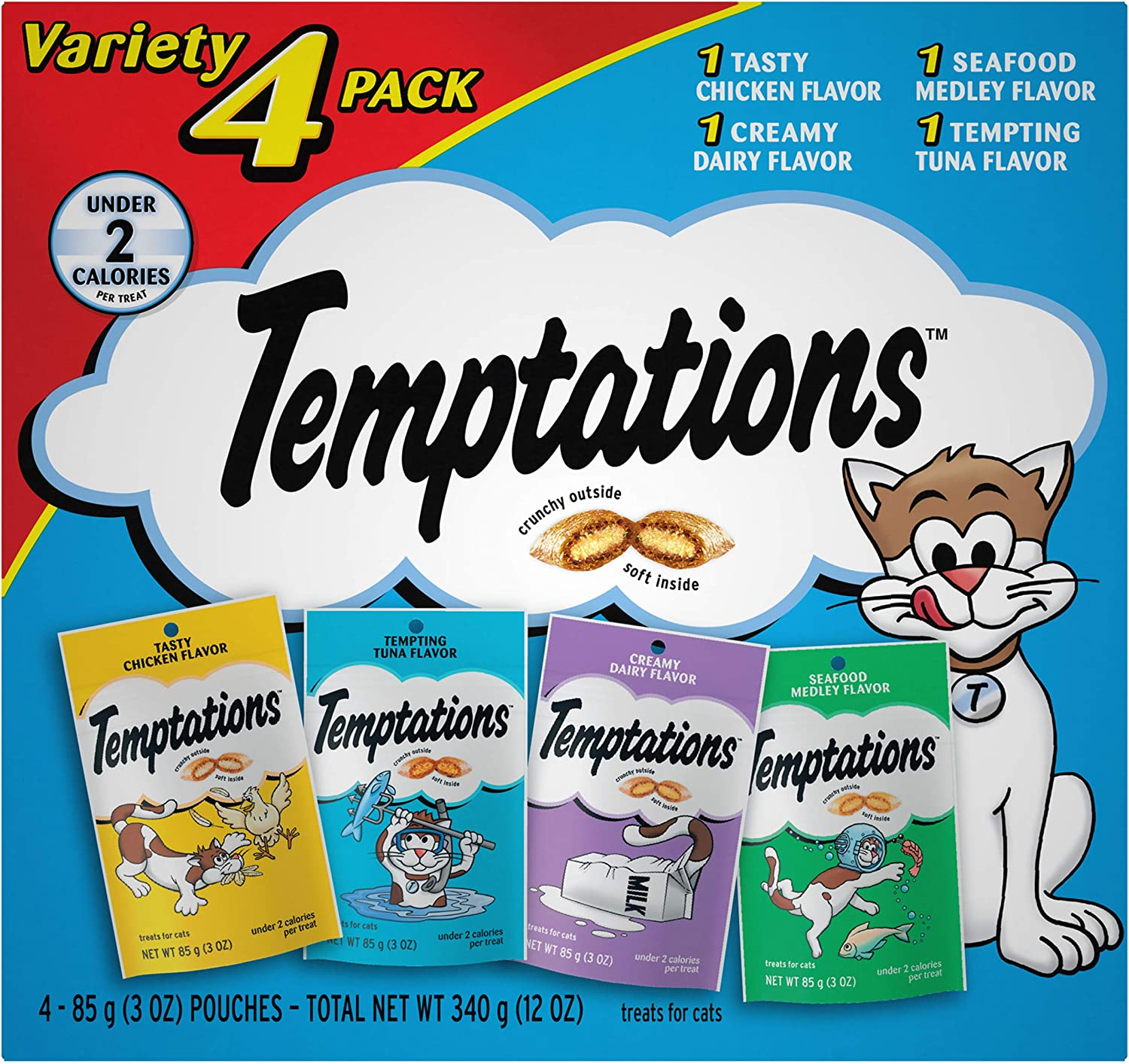 TEMPTATIONS Classic Crunchy and Soft Cat Treats Feline Favorite Variety Pack, (4) 3 oz. Pouches : Pet Snack Treats : Pet Supplies