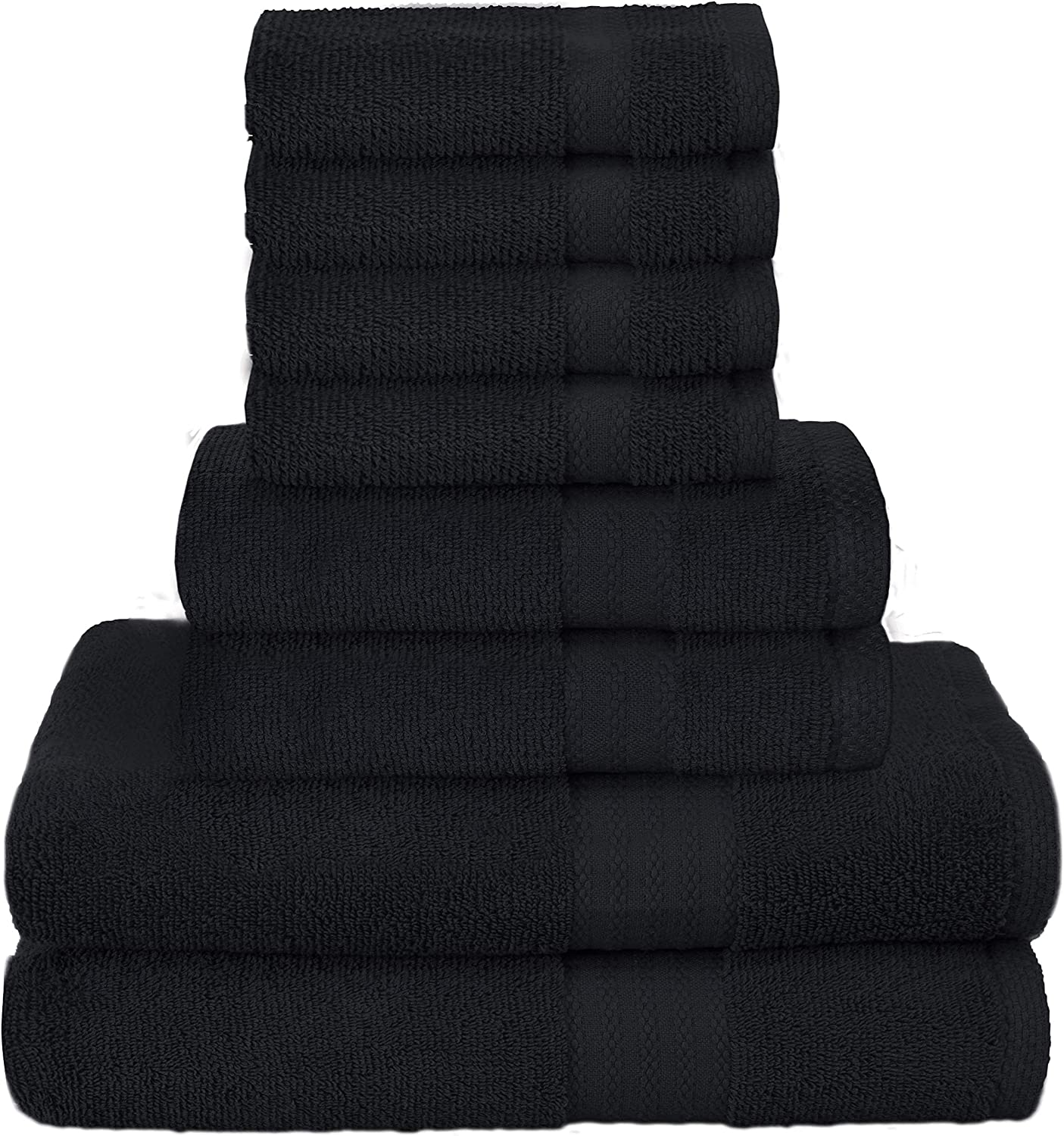 GLAMBURG Ultra Soft 8-Piece Towel Set - 100% Pure Ringspun Cotton, Contains 2 Oversized Bath Towels 27x54, 2 Hand Towels 16x28, 4 Wash Cloths 13x13 - Ideal for Everyday use, Hotel & Spa - Black