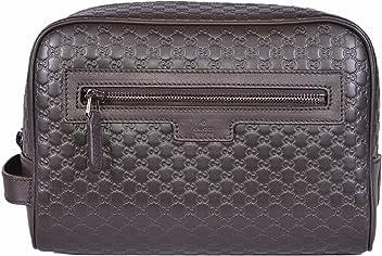 019c7b991 Gucci Men's Leather Micro GG Guccissima Large Toiletry Dopp Bag (Brown)