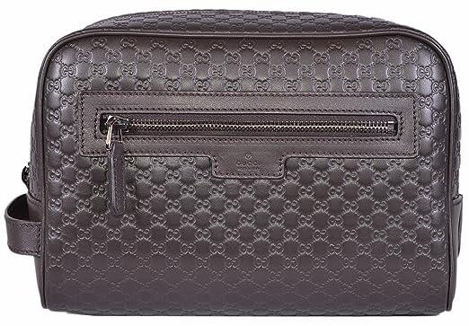 08feeeca536f Gucci Men's Leather Micro GG Guccissima Large Toiletry Dopp Bag (Brown)