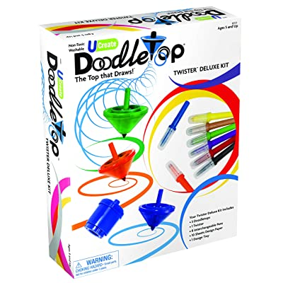 U-Create Doodletop Twister Deluxe Kit with 1 Design Tray, Marker Pens, Drawing Games, Creative Art Spiral Spinning Top for Kids Age 5 & Above: Toys & Games