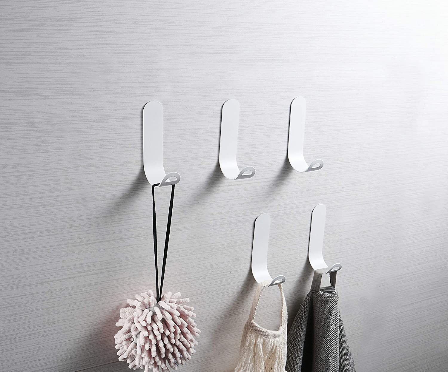HAWAYI Wall Adhesive Sticky Hooks Matte White Color 5-Pack Steel Wall Hanger Hooks Modern Minimalist for Home/Kitchen/Office/Bathroom