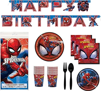 Amazon Com Spider Man Party Supplies Serves 16 Plates Napkins Tablecloth Cups Birthday Banner Plastic Cutlery Marvel Fans Disposable Tableware And Decorations Toys Games