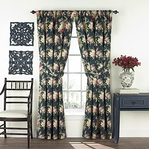 WAVERLY Curtains for Bedroom – Sanctuary Rose 100 x 84 Decorative Double Panel Rod Pocket Window Treatment Privacy Curtain Pair for Living Room, Heritage Blue