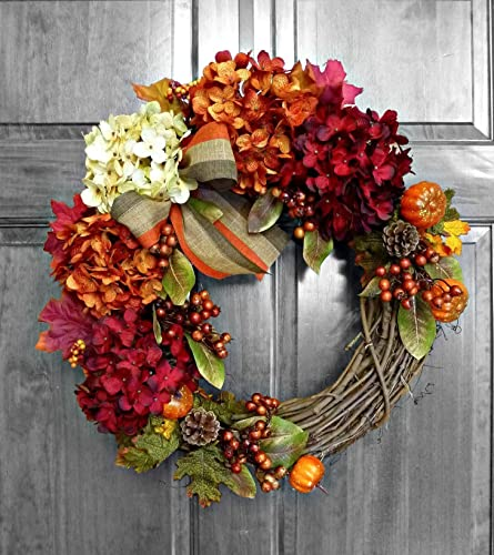 Amazon Com Fall Wreaths For Front Door Hydrangea Wreaths For
