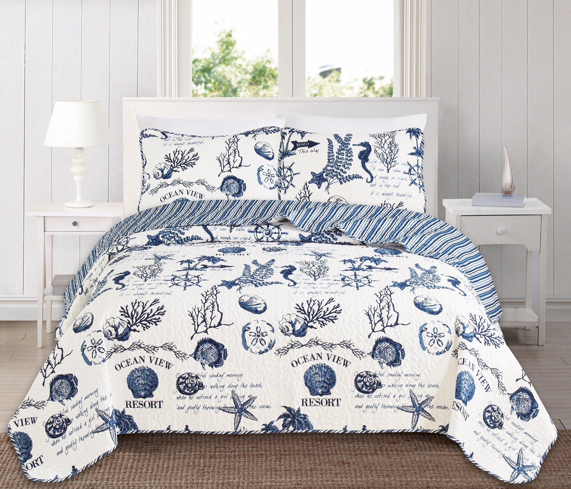 Great Bay Home 3 Piece Quilt Set with Shams. Soft All-Season Microfiber Bedspread Featuring Attractive Seascape Images. Machine Washable. The Catalina Collection By Brand. (Full/Queen)