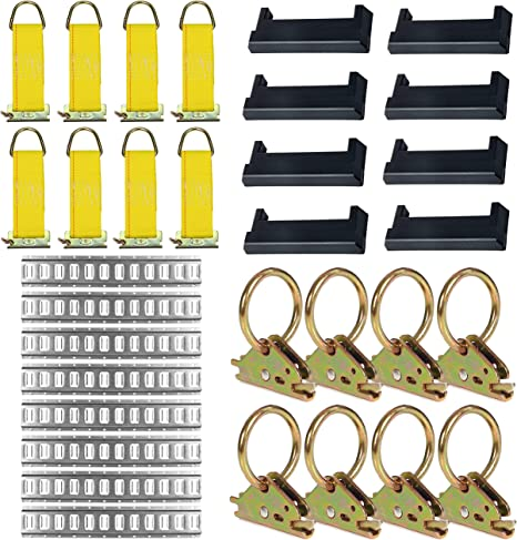 8 O-Ring Anchors And Rope Offs E-Track Tie Down Kit TieDown Accessories Bundle