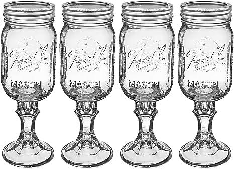 Mason Jar Wine Glass Stemware, Set of 4: Amazon.ca: Home & Kitchen