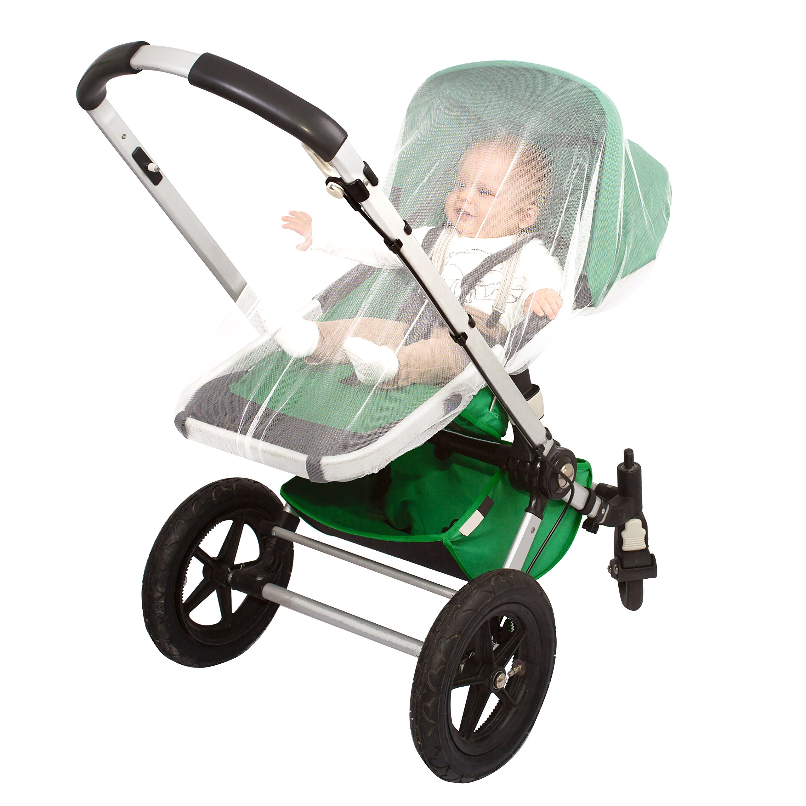 EVEN Naturals MOSQUITO NET for Stroller, Baby Carrier, Carriage, Infant Car Seat, Cradle, Soft Insect Shield Netting, Babies Fly Screen Protection, White Jogging Bug Net, Easy Installation, Carry Bag