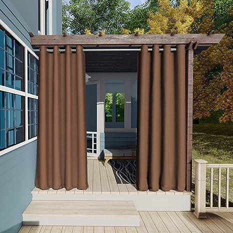 132x305cm marrón Cortinas para Exteriores con Ojales,Resistentes al Viento, Resistentes al Agua, Resistentes a la harina, para jardín, balcón, casa de ...