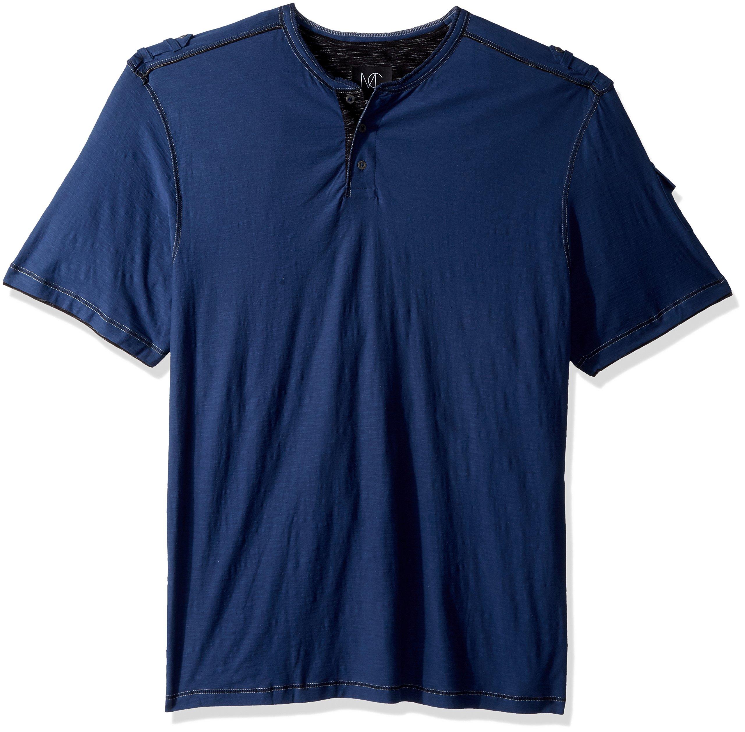 Modern Culture Men's Big and Tall Short Sleeve Henley Shirt, Ryker Indigo Blue, 4XB