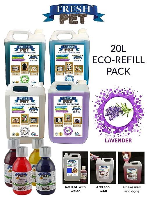 Paquete con 4botes de 5 L de desinfectante, limpiador y ambientador Fresh Pet