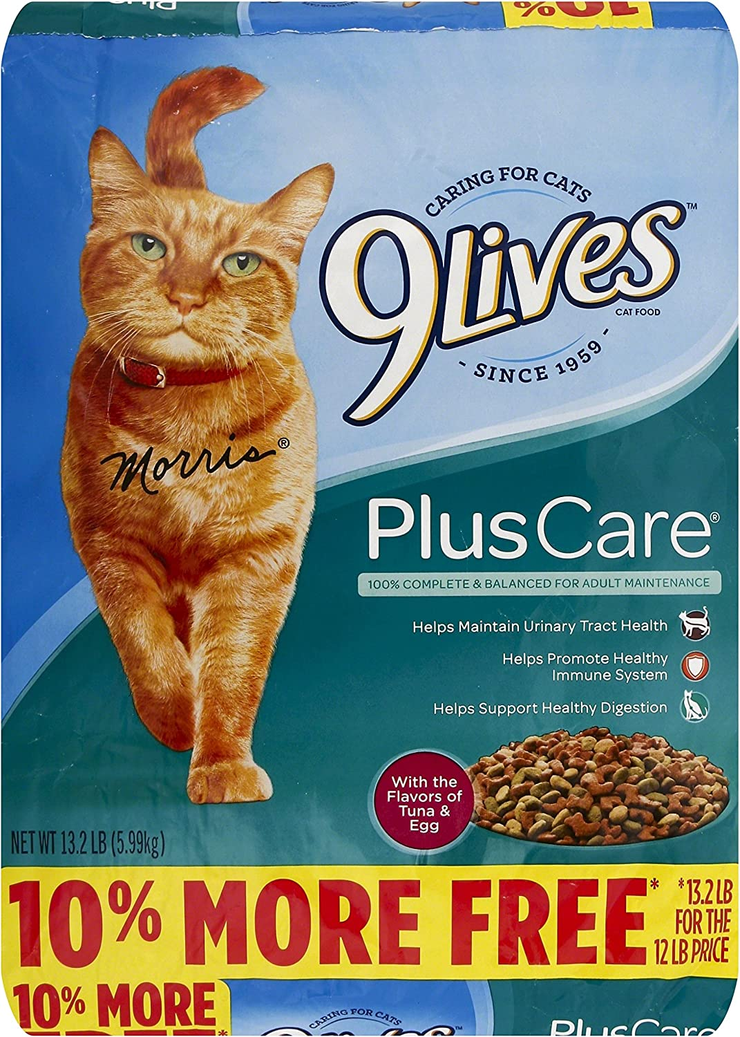 9Lives Plus Care Dry Cat Food, 13.2 lb