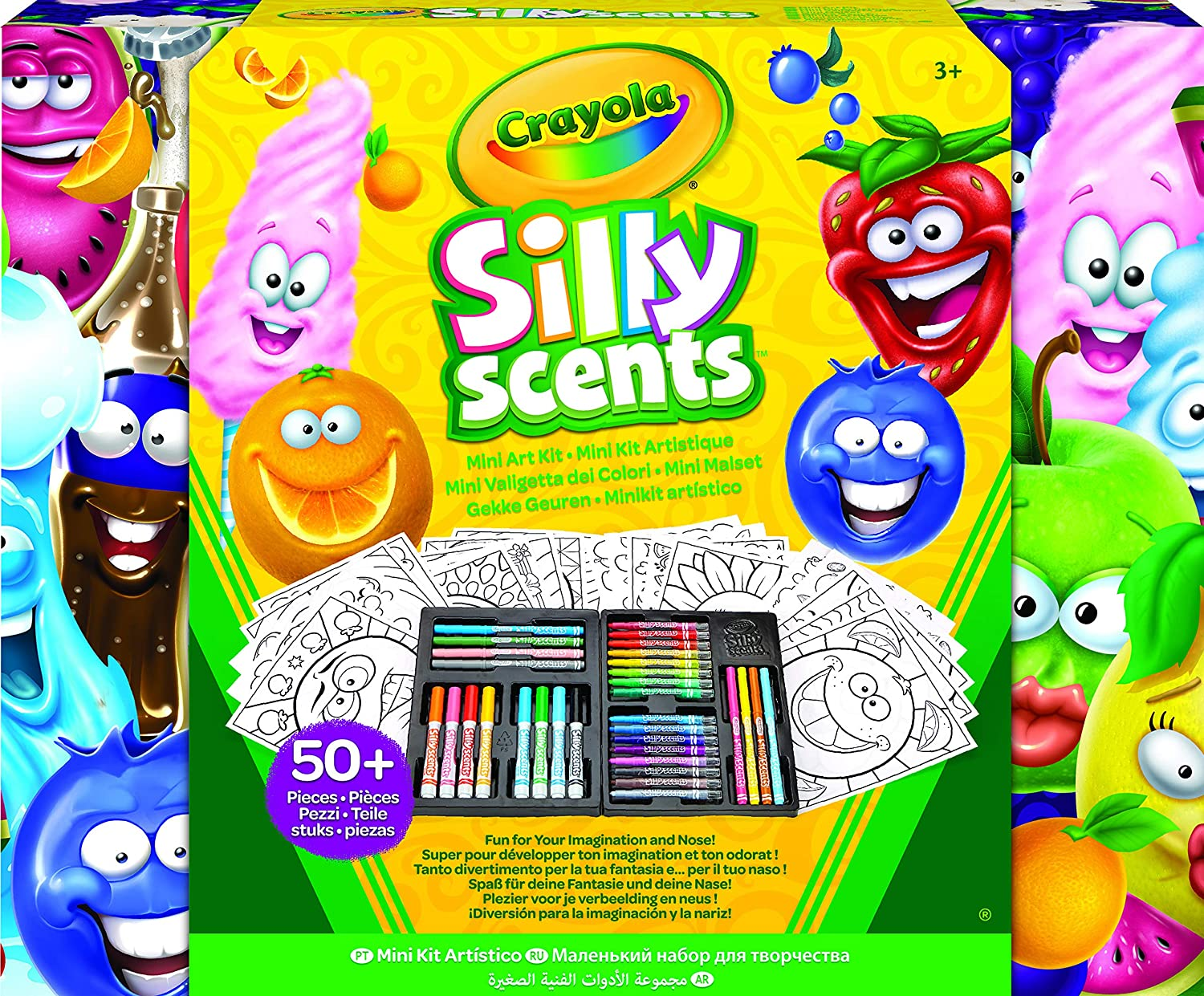 Scented Mini Inspirational Art Case Set, 16 Mini Twistables Crayons, 8 Slim and 8 Broad Line Washable Scented Markers, 20 Coloring Pages, Animal Coloring Book 96 Pages and 75 Stickers Crayola