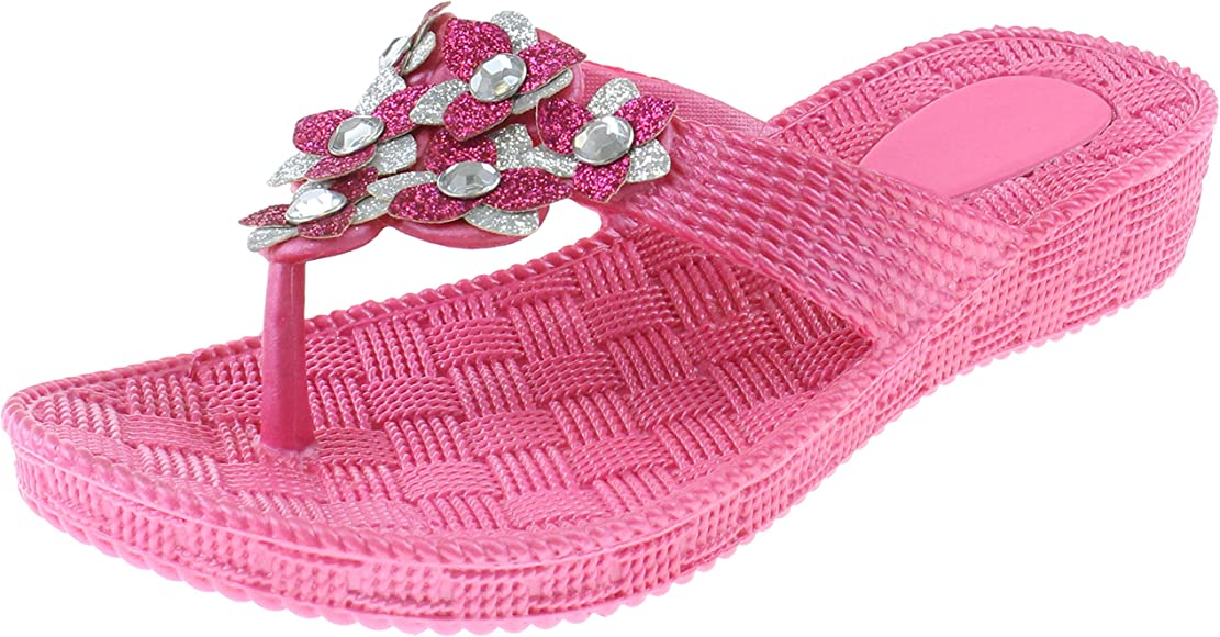 23e3224770 Capelli New York Girls Flip Flops with Two Tone Glitter Flowers and Gem  Stud Trim Pink