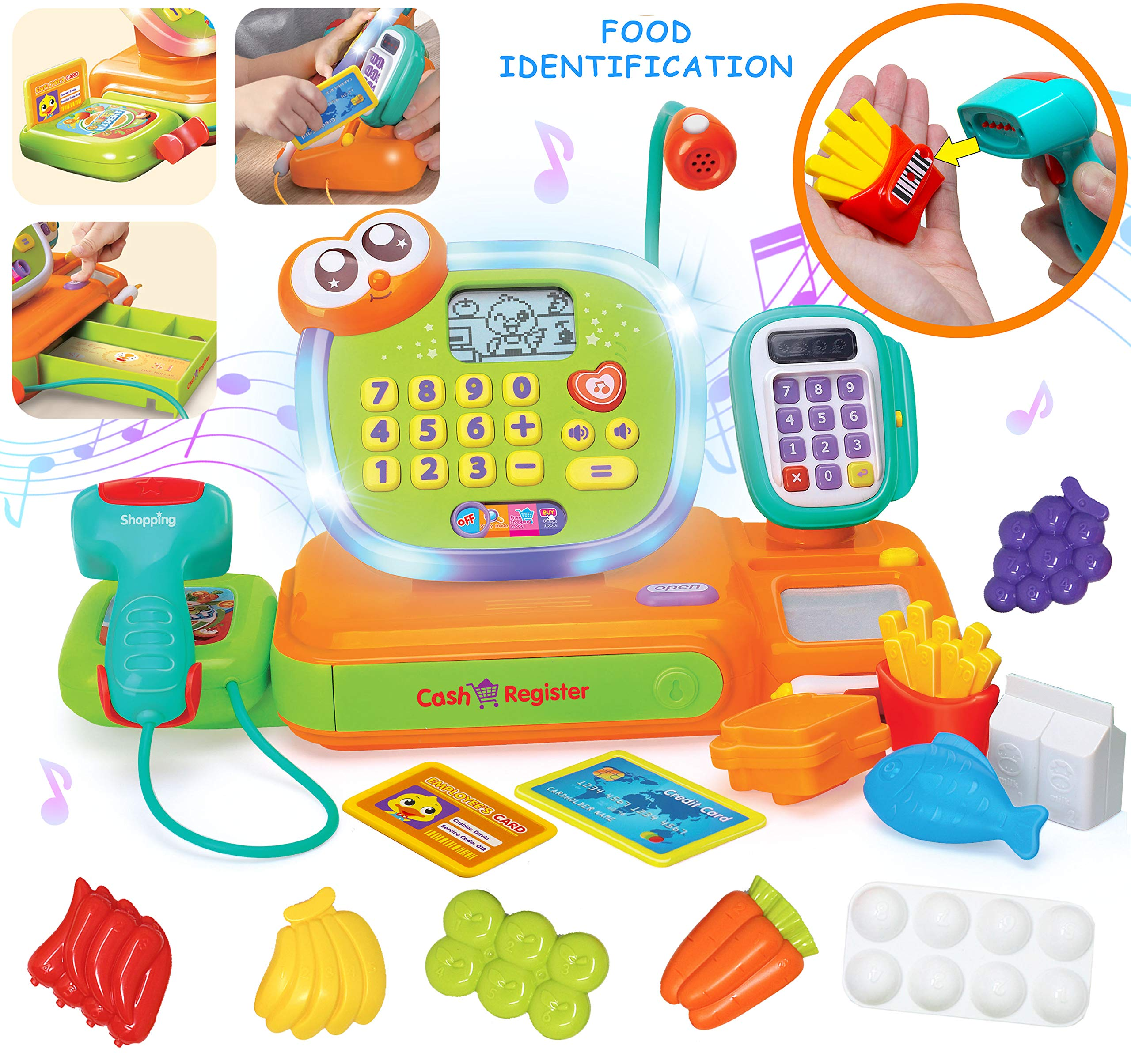 JOYIN Smart Cash Register Pretend Play Cashier with Scanner, Microphone, Play Money and Grocery Toy for Kid Boys and Girls, Toddler Interactive Learning, Educational, and Classroom Prize. by JOYIN