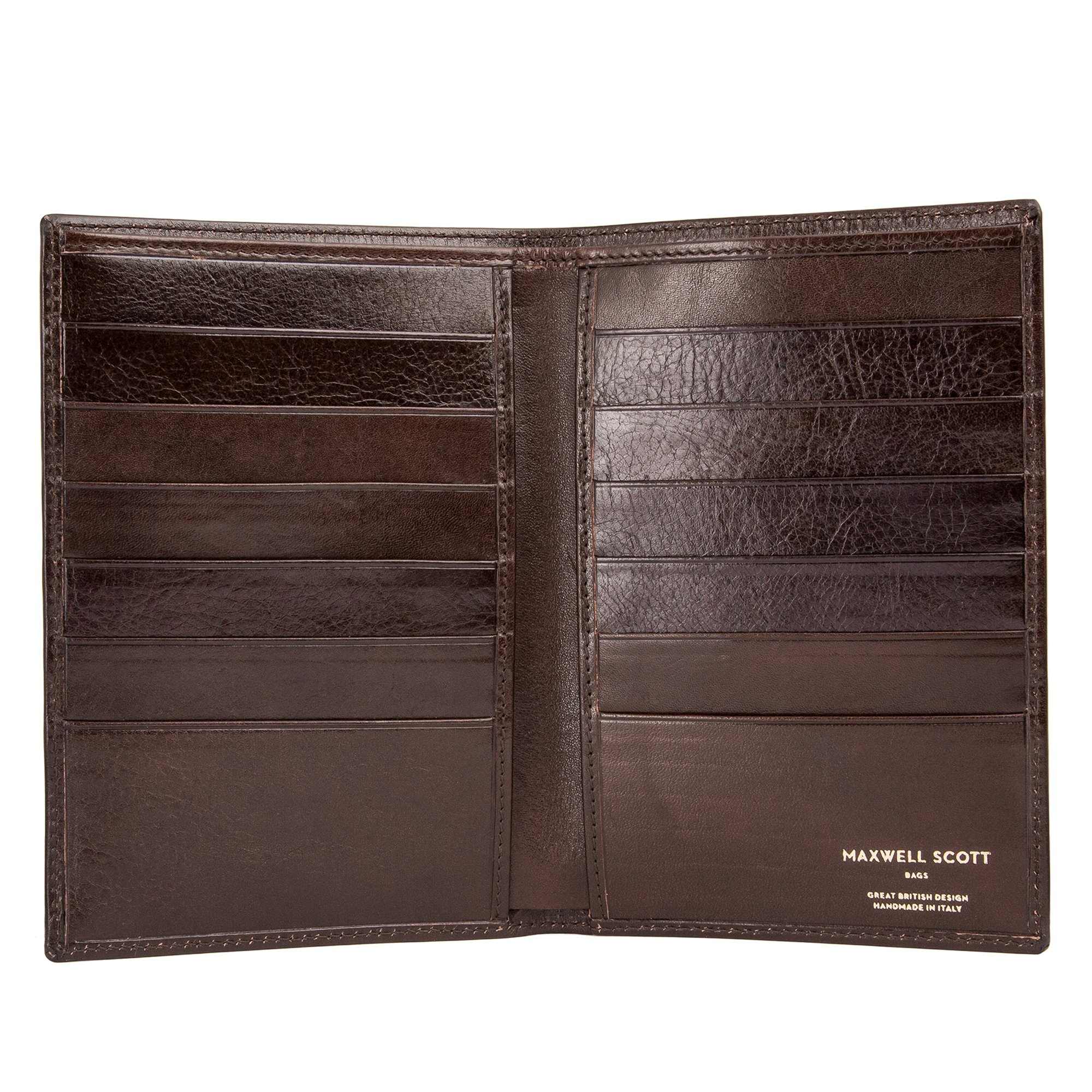 Maxwell Scott Personalized Luxury Brown Leather Dress Wallet - One Size (The Pianillo)