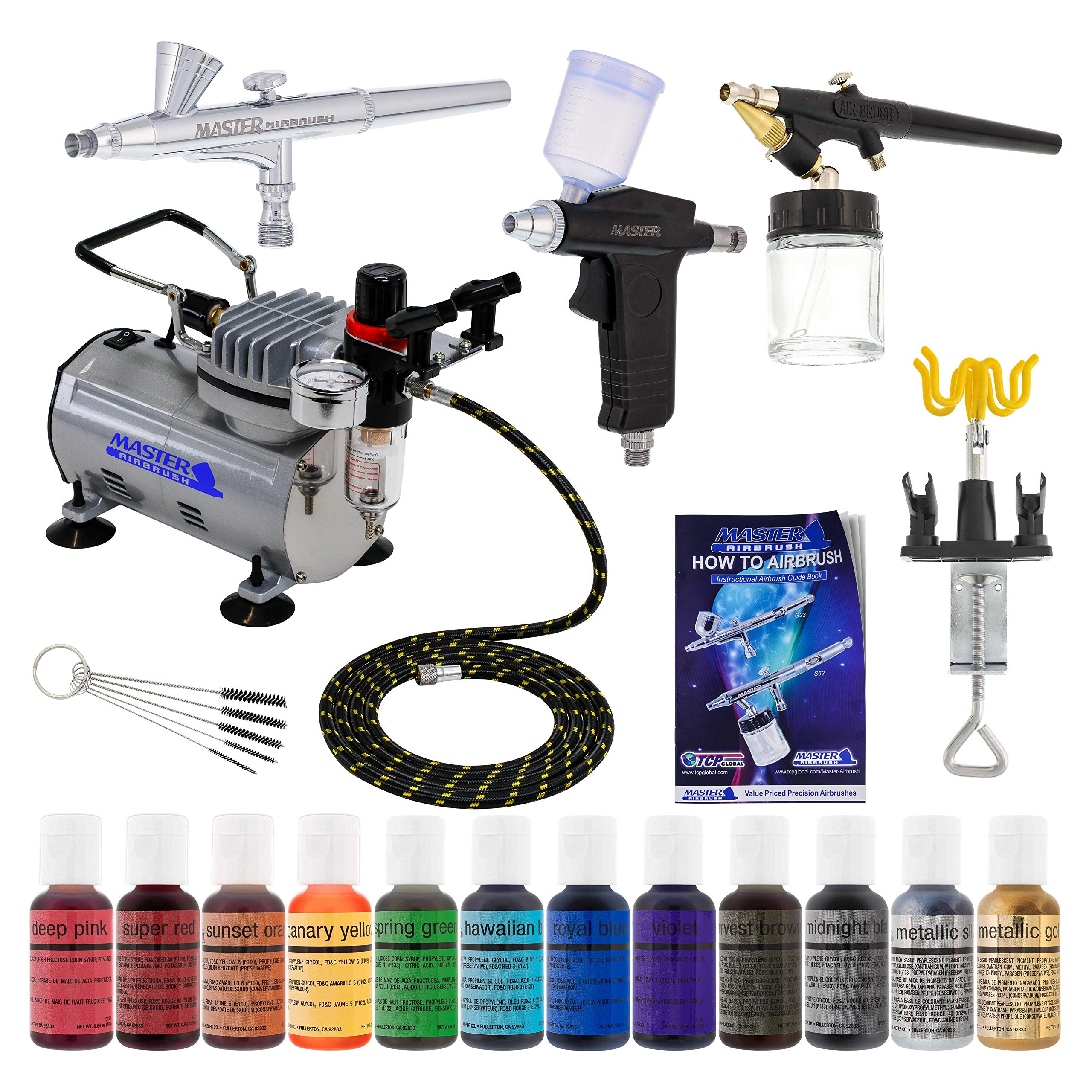 3 Airbrush Master Airbrush Cake Decorating Airbrushing System Kit with Set of 12 Chefmaster Food Colors, Gravity & Siphon Feed Airbrushes, Air Compressor - Decorate Cakes, Cupcakes, Cookies, Desserts by Master Airbrush