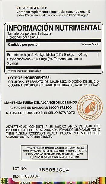 Amazon.com: Solanum Ginkgo Biloba Supplement, 60 Count: Health & Personal Care