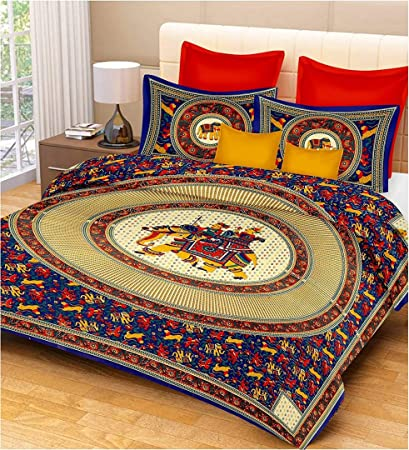 20c0e6fe04 Anjali Fashion 100% Cotton Rajasthani Jaipuri sanganeri Traditional Double  Bad Sheet,1 Bed Sheet with 2 Pillow Covers.220 TC: Amazon.in: Home & Kitchen