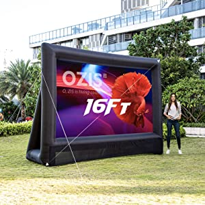 OZIS 16Ft Inflatable Outdoor Projector Movie Screen - Supports Front and Rear Projection- Blow up Mega Movie Projector Screen with120W Built-in Fan - Easy to Set Up