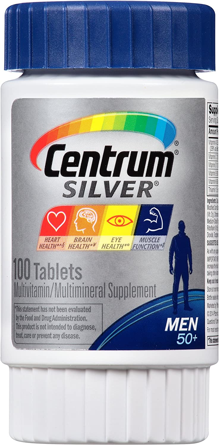 Centrum Silver Men (100 Count, Pack of 4) Multivitamin / Multimineral Supplement Tablet, Vitamin D3, Age 50+