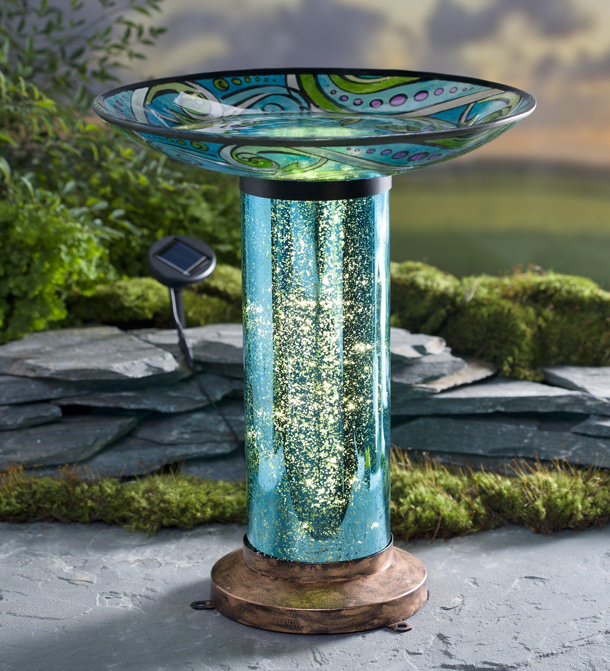 Glass Fish-Motif Birdbath