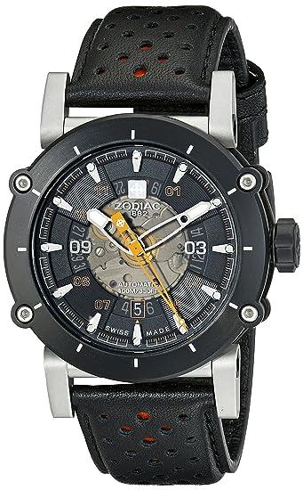 Zodiac hombre zo8572 zmx-2 negro reloj de acero inoxidable con banda de color negro