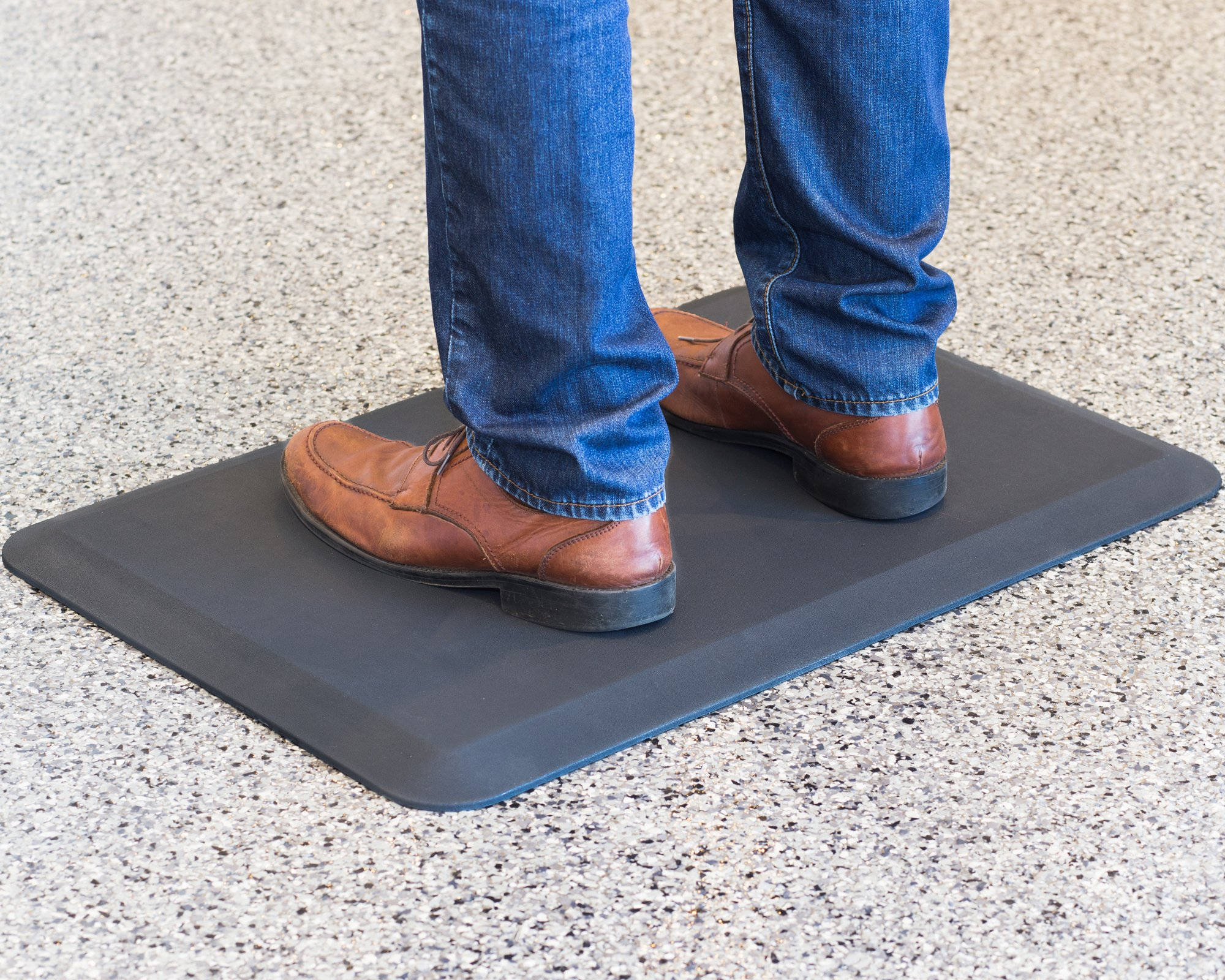 Anti-Fatigue Memory Foam Floor Mat - Black Smooth Durable Multi-Surface Feet Knees & Joints Relief Mat For Your Kitchens, Workstations, Bathroom & More - 19.5'' Height x 29.5'' Width - .75'' Thickness by V-Desk