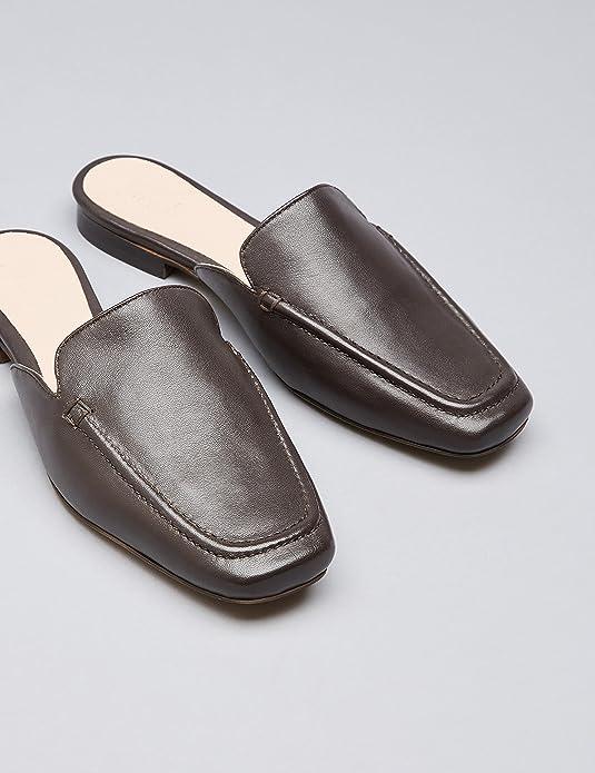 FIND Slipper Damen Mules aus Leder, mit Dekorativer Naht, Braun (Choco), 41 EU