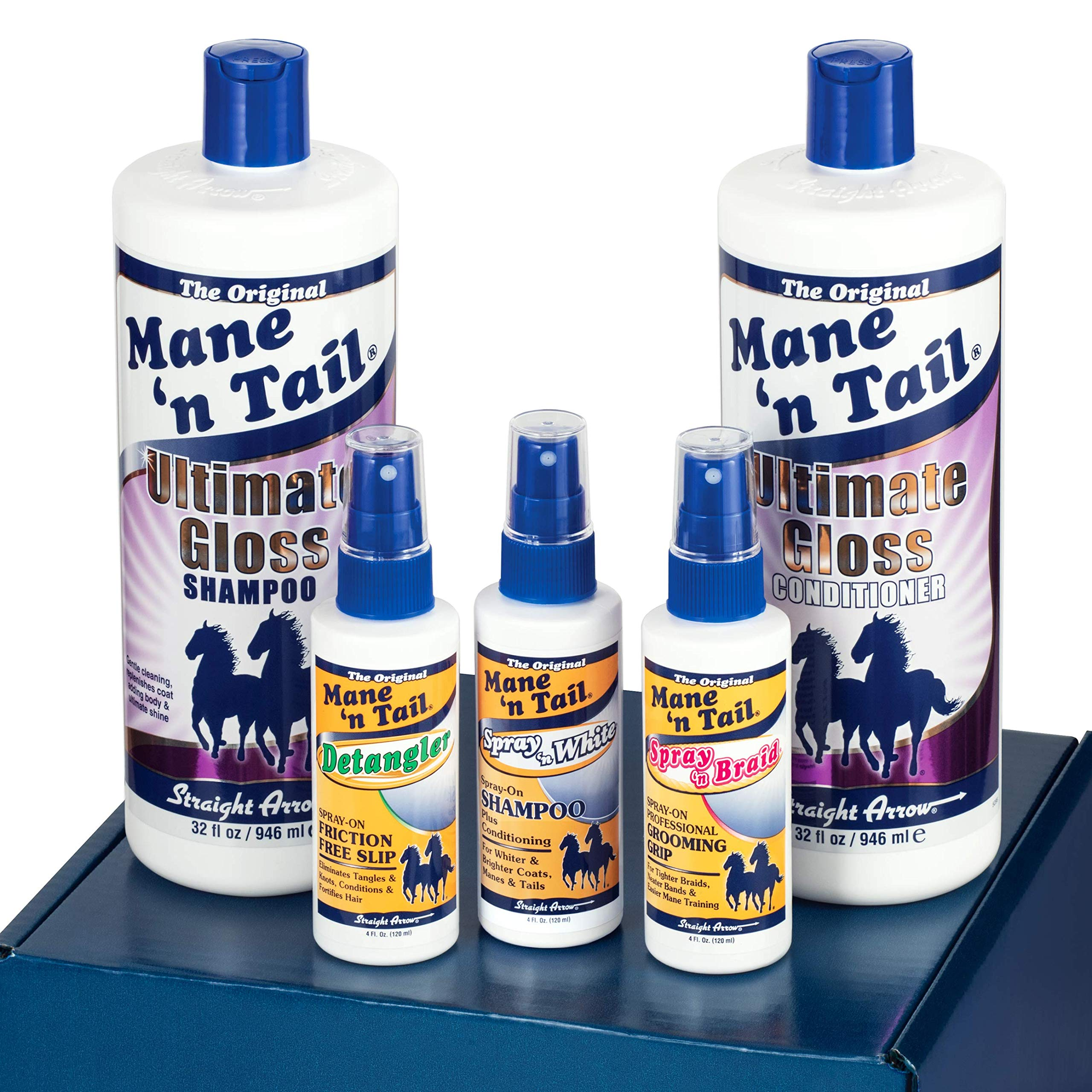 Mane 'n Tail Ultimate Gloss Winning Finish Grooming Kit5pc Includes Full Size 32 oz Ultimate Gloss Shampoo and Conditioner Made with Coconut Oil .Detangler Spray 4oz Spray 'n White 4oz Spray'n Braid by Mane 'n Tail