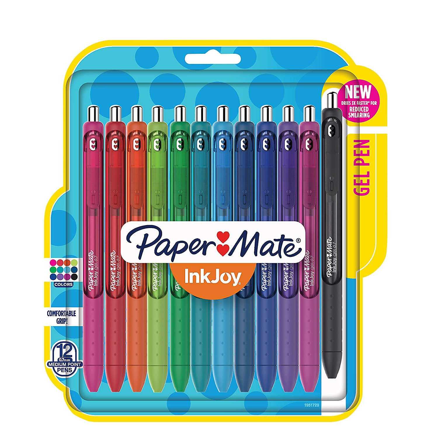 Paper Mate InkJoy Gel Pens, Medium Point, Assorted Colors, 12 Count