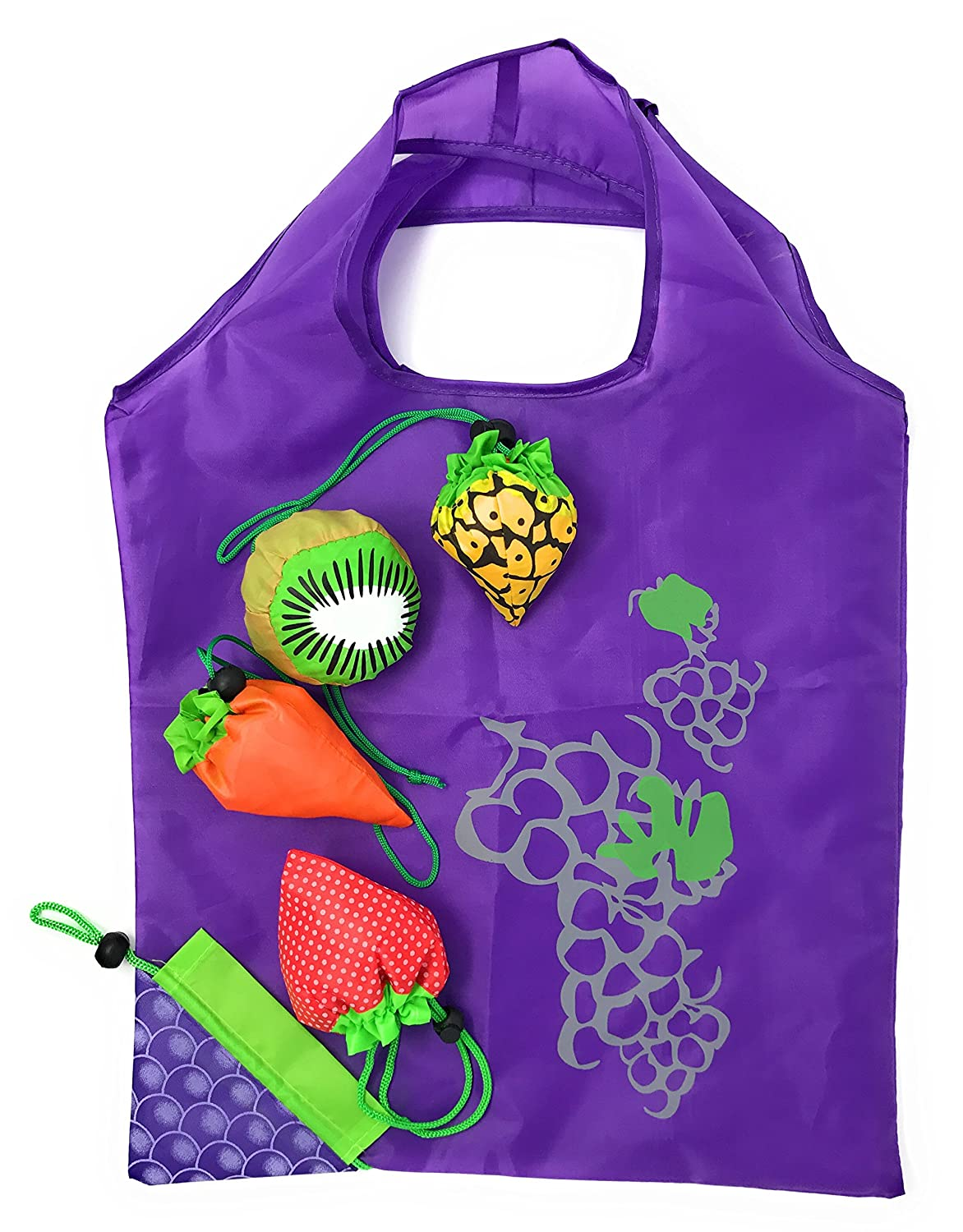 5 xコンパクトショッピングバッグReusable Grocery Totes – Fun Fruit Shaped軽量、強力、と便利なGrocery Bags ( Pack of 5 ) B06XZBLBW7
