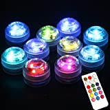 Acmee (pack of 10) Multi-color 3 LEDs Water Proof Vase Light with Remote Control /LED Submersible Candle Light with 18 keys for Wedding or Party Decoration