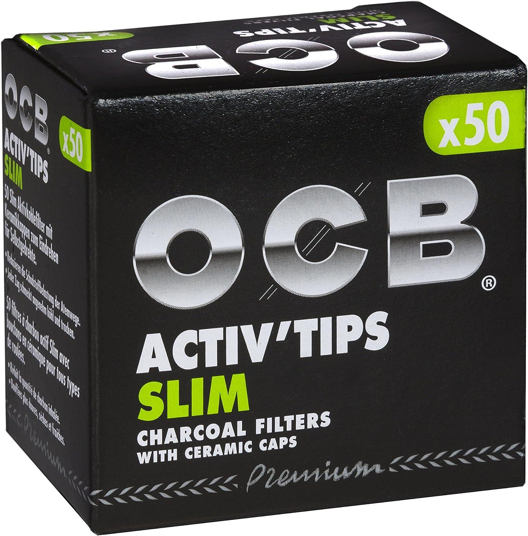 OCB ActivTips Slim - Filtros de carbón Activo con Tapas de cerámica (2 Paquetes de 50 Unidades)