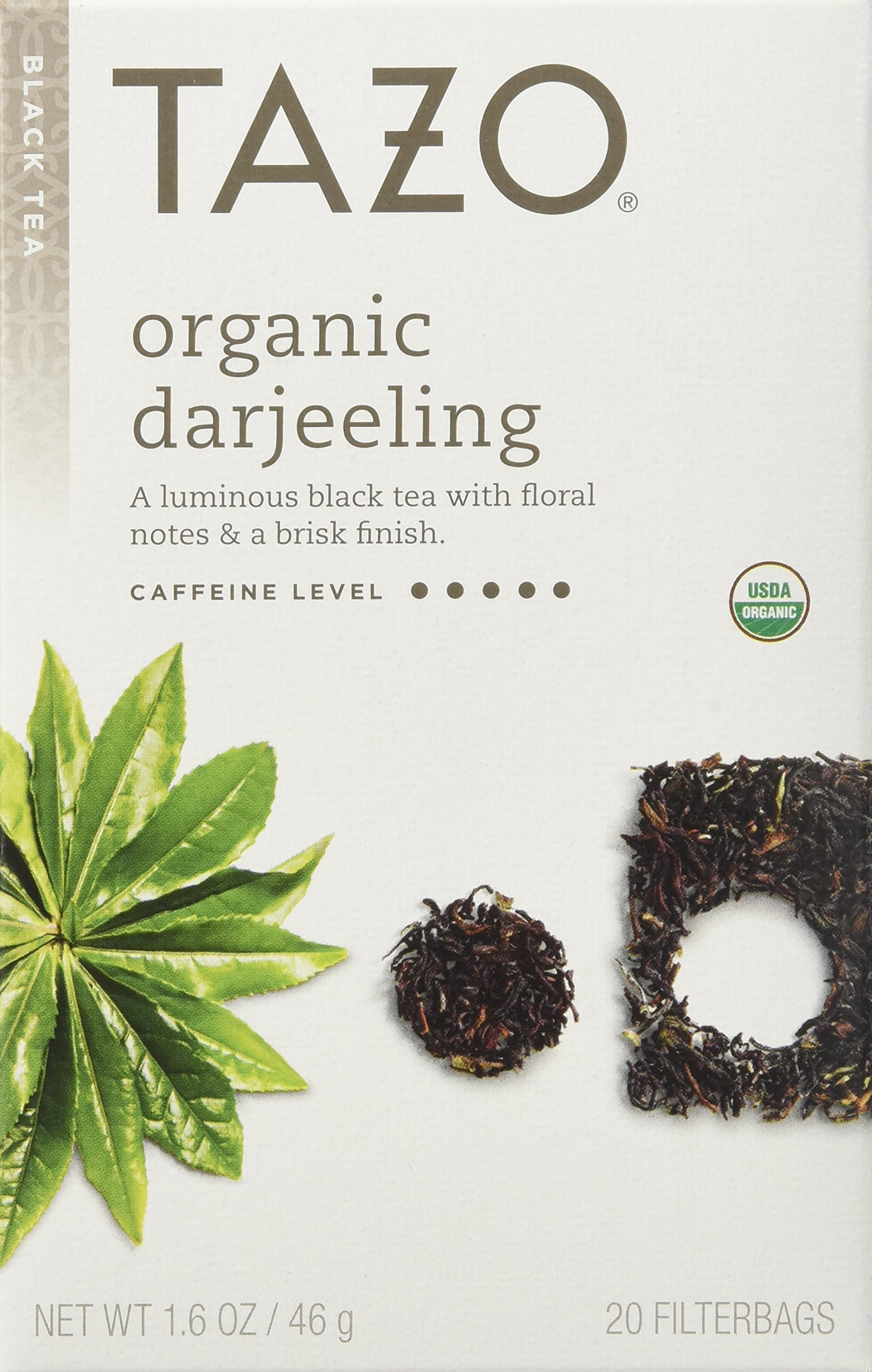 Tazo Organic Darjeeling Black Tea, 20-Count Tea Bags (Pack of 6) by Tazo