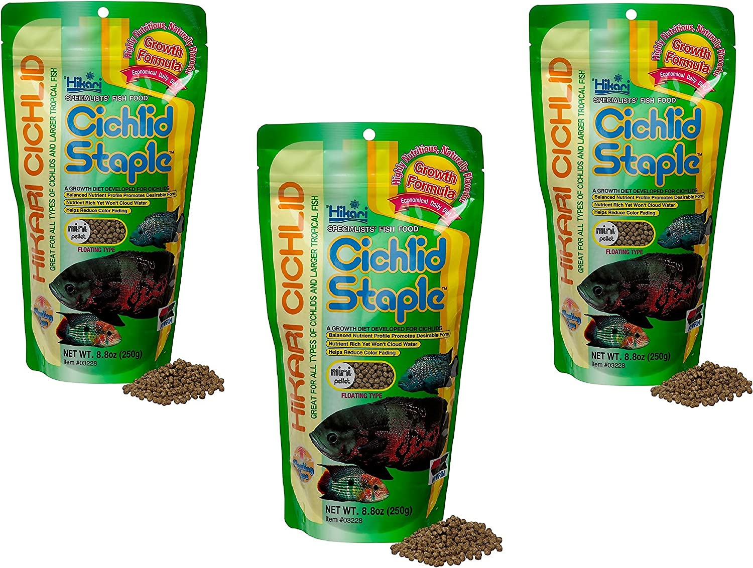 (3 Pack) Hikari Cichlid Staple Floating Pellets for Pets, Mini - 8.8-Ounce each