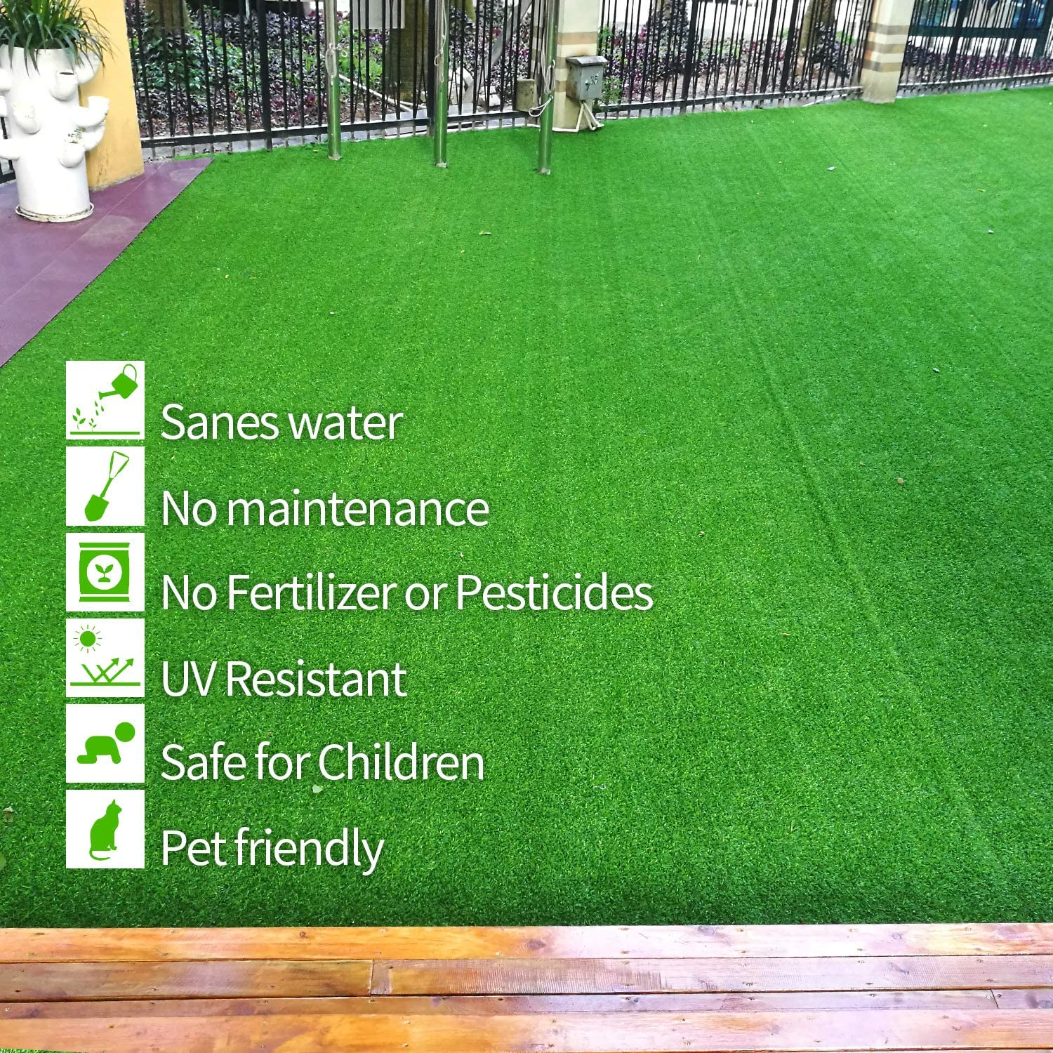 RoundLove Artificial Grass Turf Lush /& Hard Pet Turf Astroturf Rug Fake Turf for Indoor /& Outdoor Decor 3 Tone Synthetic Grass Patch Mat w//Drainage Holes