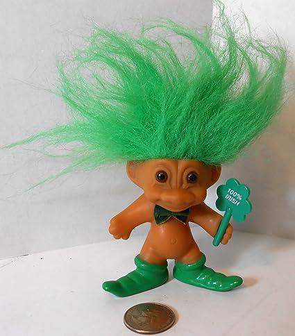 Amazon Com Russ 100 Irish Green Hair Troll Doll 3 Tall 5 With