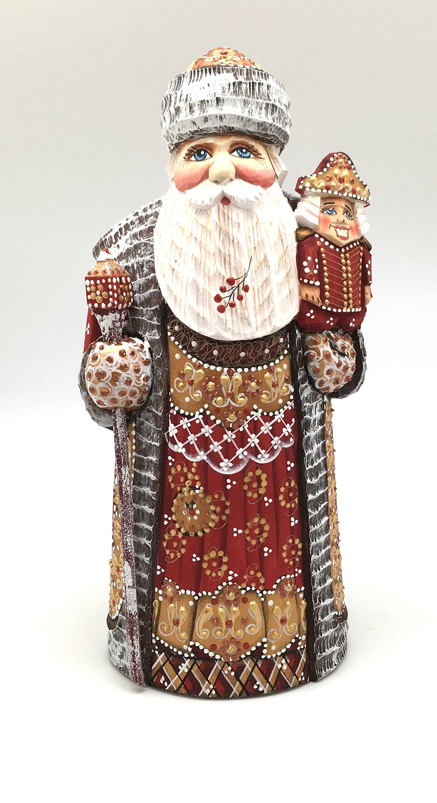 Russian SANTA w/Nutcracker Wood Hand Carved Hand Painted Signed by artist