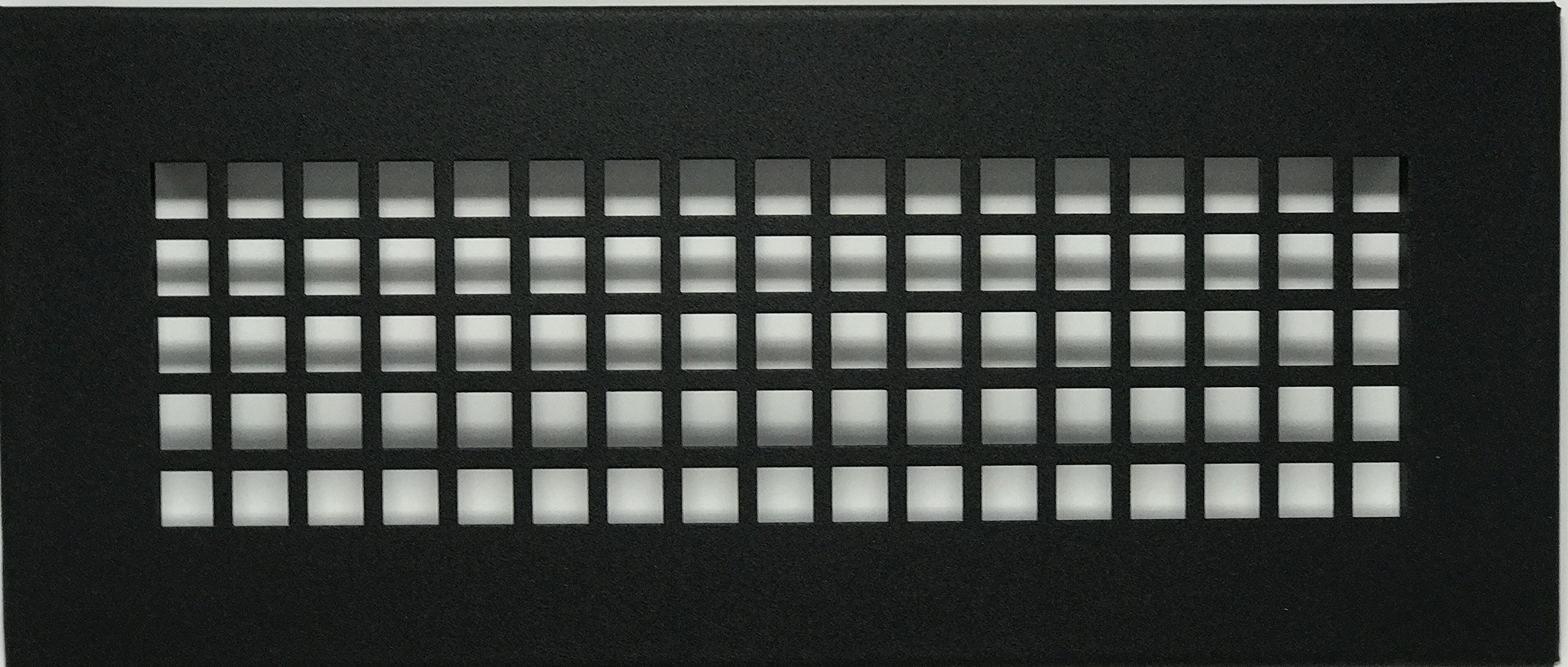 4'' x 12'' Powder Coated Black Steel Square Pattern Floor Register with Damper ( 6'' x 14'' Overall; No Holes)