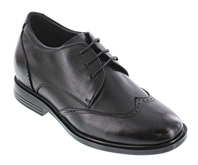 fe9f2b87b0c CALTO Men's Invisible Height Increasing Elevator Shoes - Black Premium  Leather Lace-up Lightweight Wingtip
