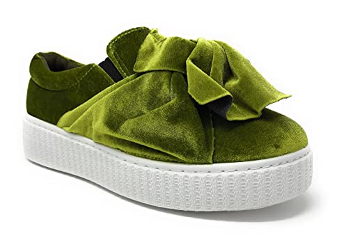 df9c1e30d21ab Pink Label Women's Velvet Slip-On Fashion Sneaker with Chic Bow in Green  Size:
