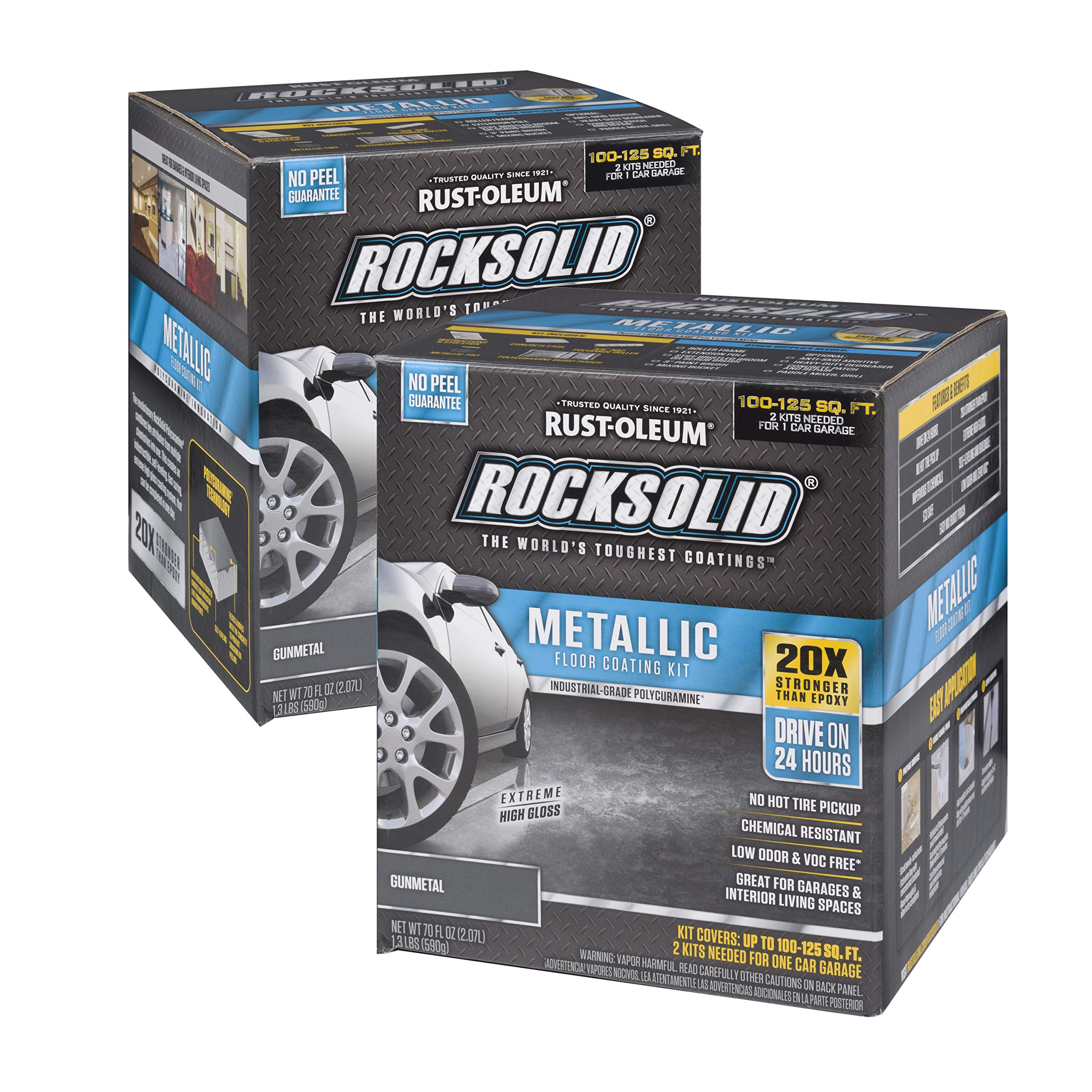 Rust-Oleum RockSolid Gunmetal Metallic Garage Floor Kit - 2 Pack