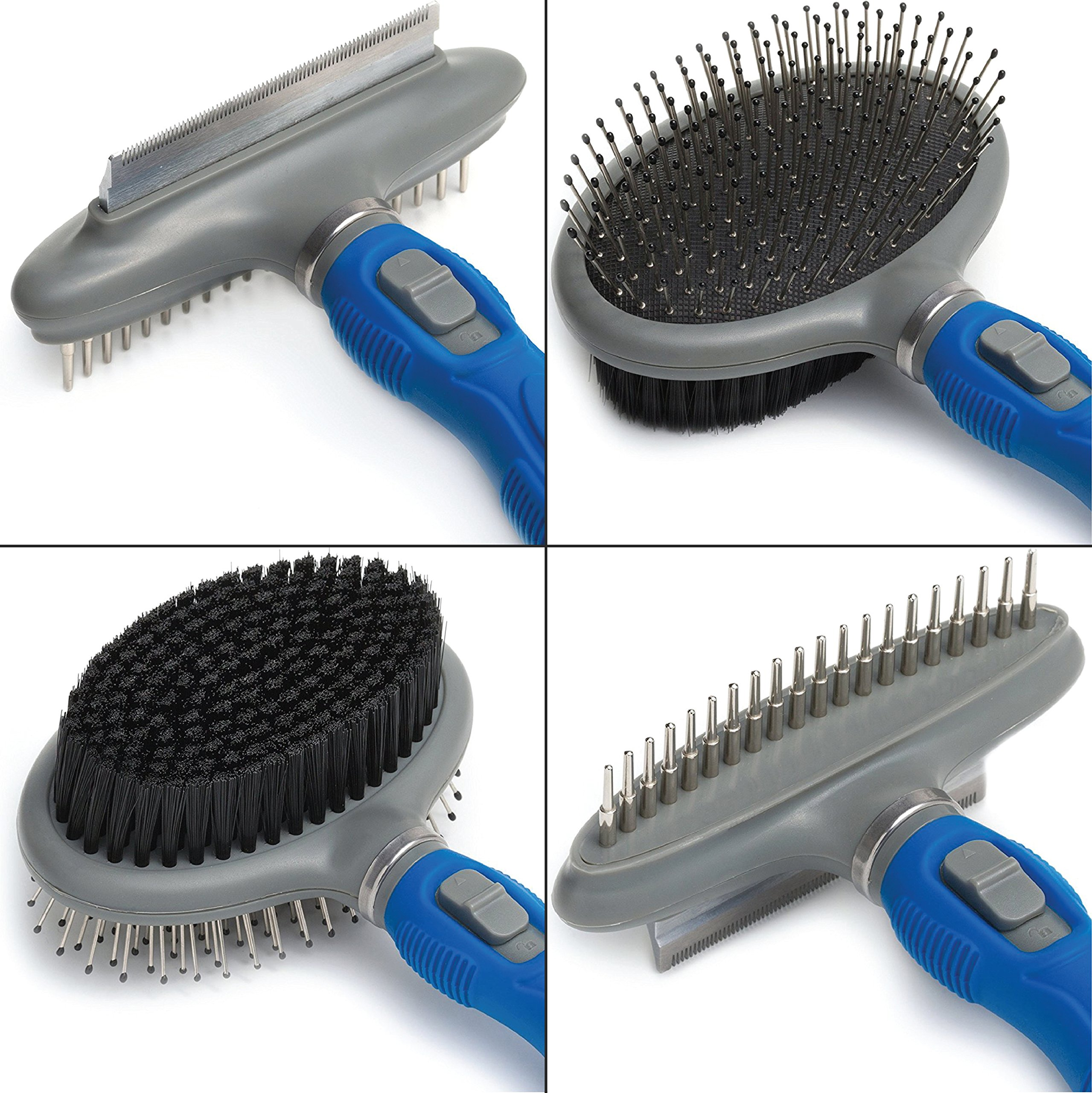Friends Forever Dual Side 2 in 1 Pet Grooming Combo - Deshedding, Pin Bristle Dog Brush + Undercoat Rake & Comb for Dogs and Cat, Pet Supplies Tool Kit