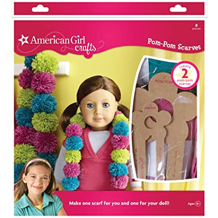 American Girl Doll Crafts Matching Pom-Pom DIY Scarf Kit, 8pc.