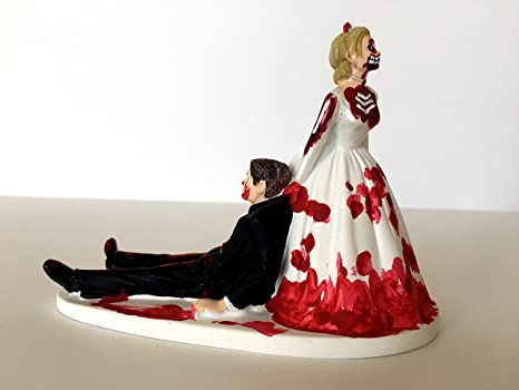 Amazon.com: Love Never Dies Funny Zombie Wedding Cake Topper ...