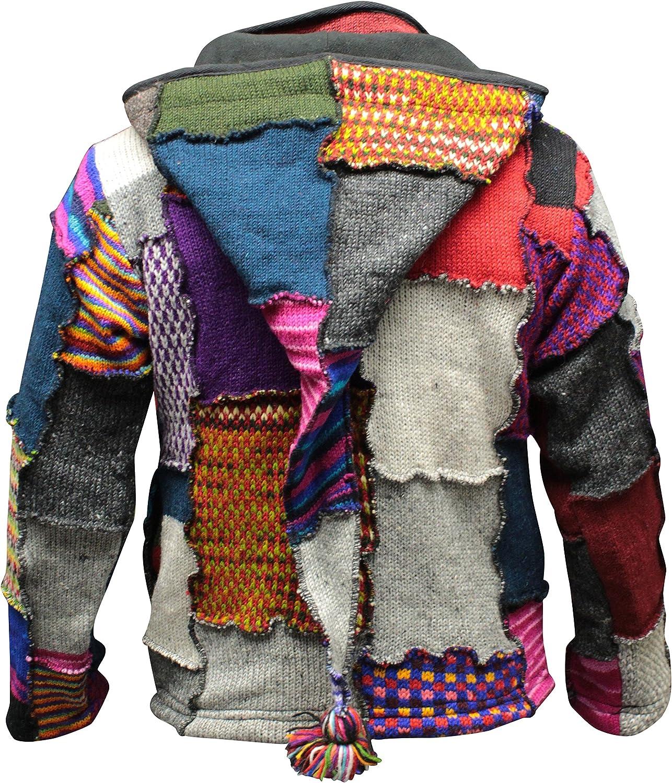 Shopoolic Fashion Batik Patchwork Hippie Giacca foderata in pile Boho Hippie