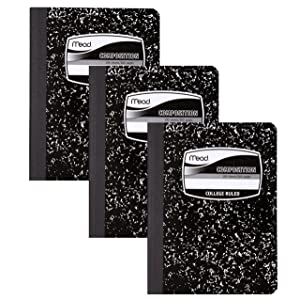 Mead Composition Books, Notebooks, College Ruled Paper, 100 Sheets, Comp Book, 3 Pack (38111)